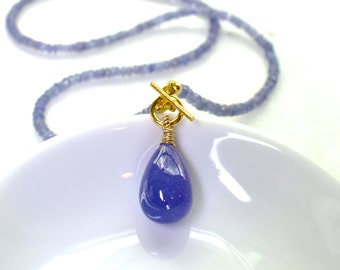 AAA XLarge Tanzanite Focal Toggle Necklace in 14k gold fill...