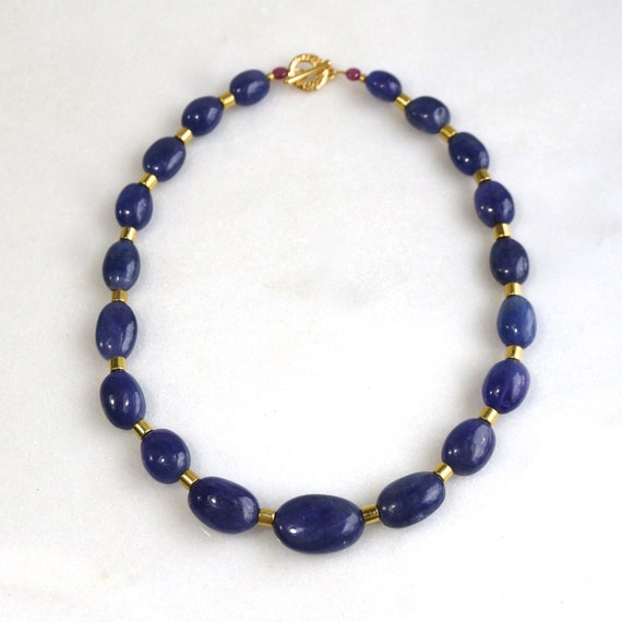 0fe39e3cf20d2 Tanzanite HUGE Polished 1005 cts Nugget Focal Necklace with Gold Vermeil  Accents ..