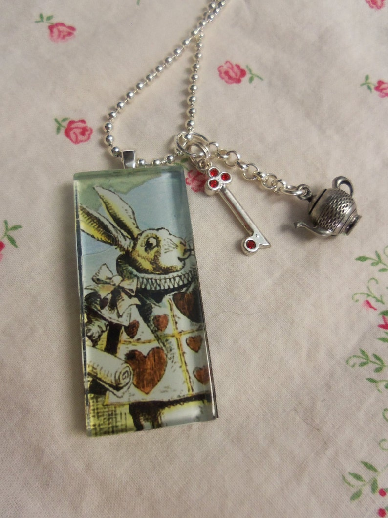 White Rabbit Late for Tea Necklace image 0