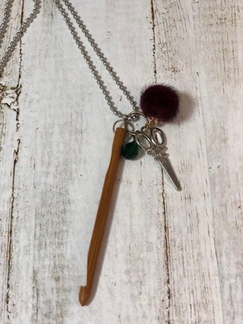Mini Crochet hook necklace Crocheters Necklace image 0