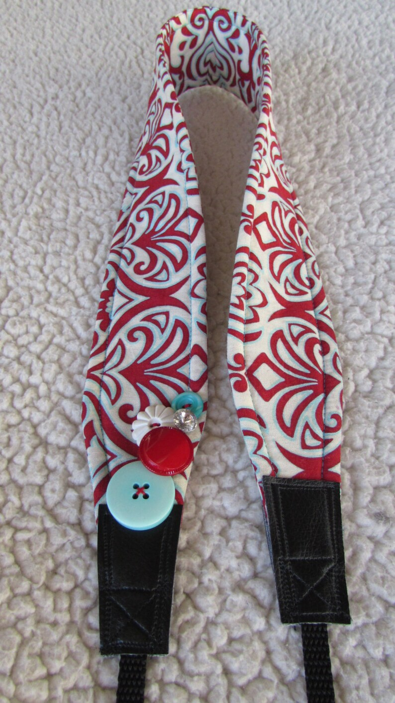 Unique one of a kind Red and Teal Swirls Camera Strap image 0