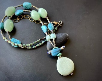 """Handmade artisan glass turquoise chrysoprase pendant necklace by Lori Lochner summer blues and greens 19-24"""" boho beach jewelry one of"""