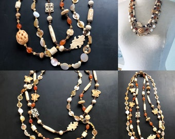 Artisan multi strand collection necklace by Lori Lochner antique bone, carnelian, mother of pearl summer boho one of a kind