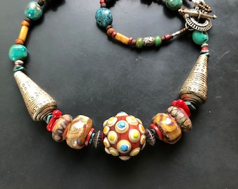 Artisan handmade glass lampwork blown statement necklace by Lori Lochner coral red turquoise and tribal silver modern ethnic
