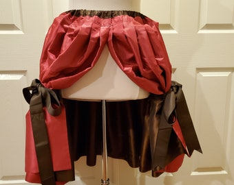 Raspberry and Cocoa Reversible Cinderella Bustle Skirt One Size Fits All