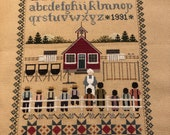 Item 900, COMPLETED Schoolhouse Sampler by Told in a Garden, Stitched, SAS (Save a Stitch)