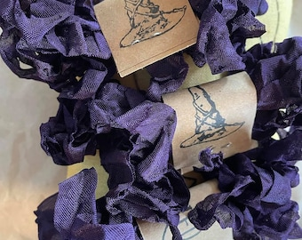 PURPLE CHELSEA RIBBON, 1/2 inch crinkled rayon ribbon, Hug Snug, purple ribbon, packaging, cross stitch, decorative trim, stepmother, wicked