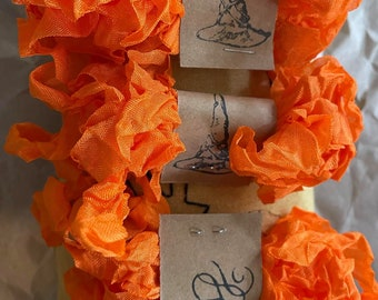 ORANGE CHELSEA RIBBON, crinkled rayon ribbon, crafting, cross stitch, packaging, wicked, stepmother, orange ribbon, rayon ribbon, Hug Snug
