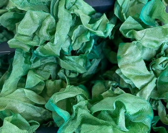 GREEN CHELSEA RIBBON, hand dyed 1/2 inch wide rayon ribbon, crinkled, variegated, not colorfast, packaging, cross stitch finishing, wicked