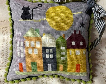 HACKBERRY ROAD,  Cross Stitch Chart/Pattern, PDF Download, Halloween, needlework, embroidery, counted cross stitch, wicked, stepmother