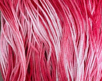 PEPPERMINT TWIST, hand dyed 6 strand cotton floss, fancy floss, Christmas floss, cross stitch, embroidery, needlework, Christmas stitching