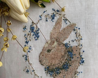 BUNNY in BLUE, PDF Download counted cross stitch chart, cross stitch, embroidery, needlework, bunny, rabbit, AWickedStepmother, blue flowers