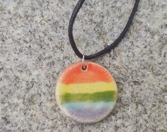 Handmade Pottery Ceramic LGBTQ Pride Rainbow Round Pendant Necklace By Powers Art Studio