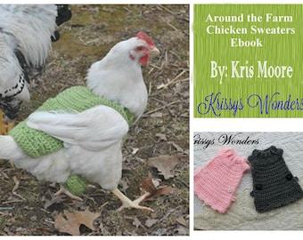 Ebook - Chicken Sweater Crochet Patterns - Ebook - Chicken Saddle - Flouncy Chicken Sweater - Schoolgirl Chicken Sweater