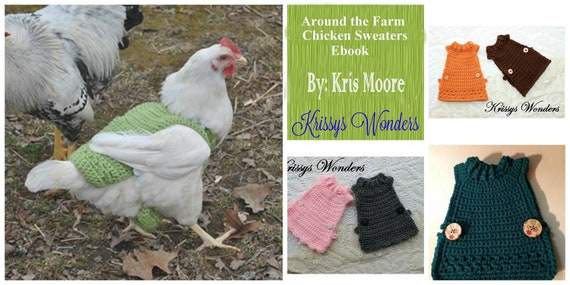 29065efbb2d8 Ebook - Chicken Sweater Crochet Patterns - Ebook - Chicken Saddle - Flouncy Chicken  Sweater - Schoolgirl Chicken Sweater