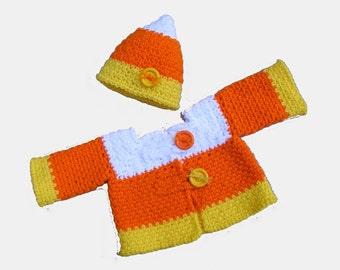 Ebook Candy Corn Crochet Pattern Sweater and Crochet Hat Baby Sweater and Hat - No. 68