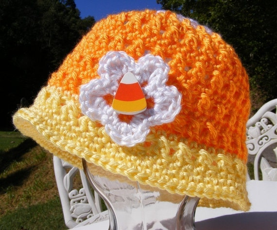 Candy Corn Crochet Hat Pattern Newborn To Adult Small Easy Etsy