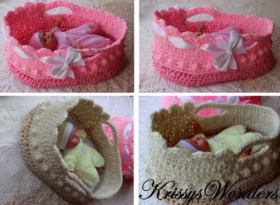 Crochet Moses Basket Doll Carrier Crochet Pattern Etsy