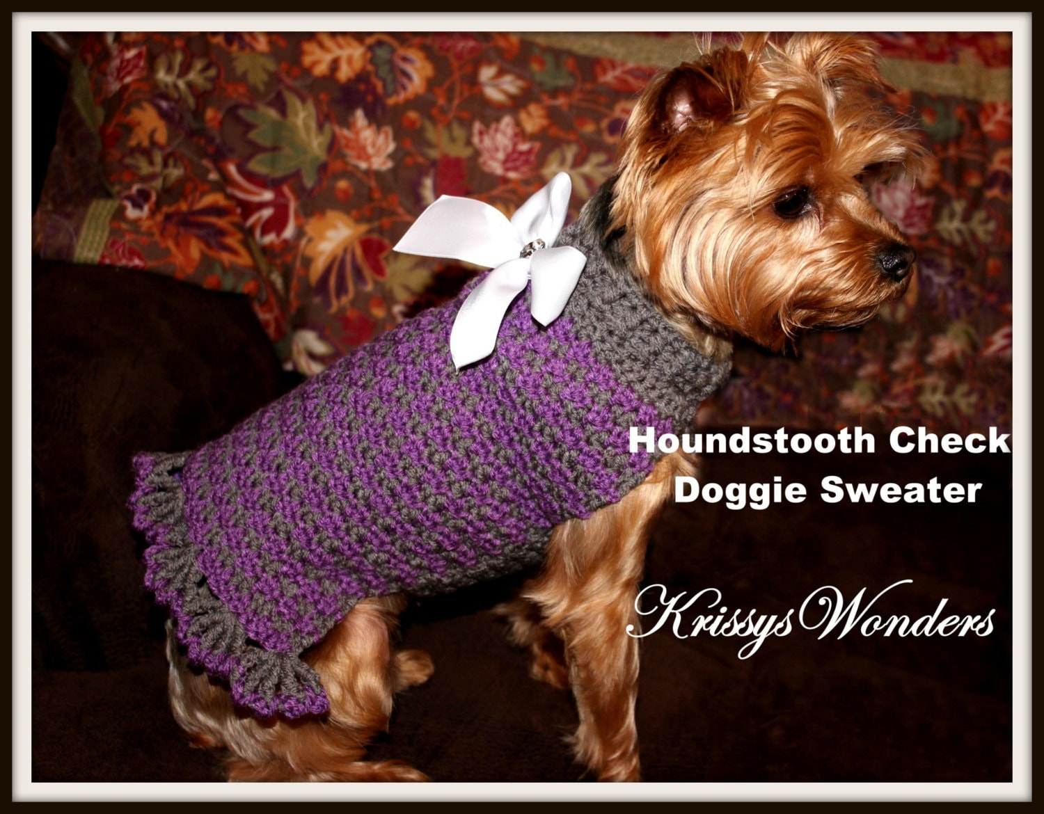 Dog Sweater Crochet Pattern Houndstooth Check Doggie Sweater Etsy
