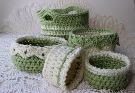 Crochet Basket Patterns 6 Sizes Ebook Drop Over Lace Edge Etsy