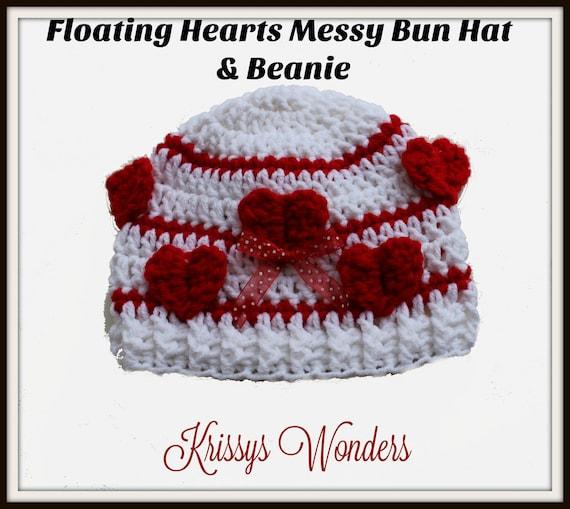 Messy Bun Hat Crochet Hat Pattern Ponytail Hat  fe967b2ee0e