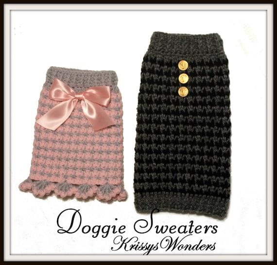 Dog Sweater Crochet Pattern Houndstooth Check Doggie Sweater