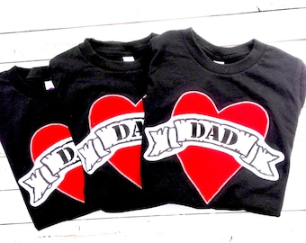 Mens Fathers Day Dad tattoo Black tshirt kids outfit Shirt Applique shirt card gift baby children clothing hip Boutique valentines heart