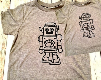 Robot technology Father's Day matching shirts Set tyrannosaurus Mens Boys baby Infant Tshirt father son child kids daughter girl dad gift