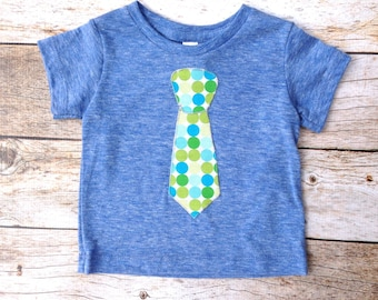 3 to 6 month blue green dot tie Ready to Ship Father's Day Tie Applique Shirt Short Sleeve T Shirt Kids Easter - Wedding or Photo