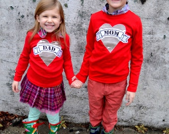 Valentine Day Woodgrain Father's Day Father Son Daughter Fathers outfit Mom Heart Tattoo Shirt lil bro big sis New Dads Valentines fox red