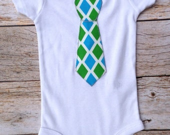3 month blue green diamond tie Ready to Ship Father's Day Tie Applique Shirt white infant baby bodysuit Kids Easter Wedding or Photo