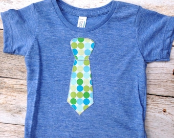 6 to 12 month blue green dot tie Ready to Ship Father's Day Tie Applique Shirt Short Sleeve T Shirt Kids- Fabric - Wedding or Photo Pr