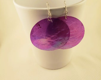 Purple Sea Wafer Seashell Earrings
