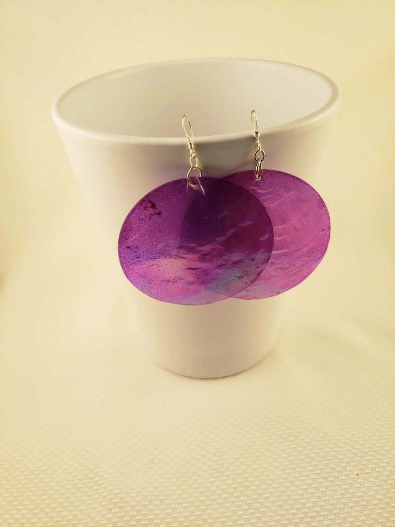 Purple Sea Wafer Seashell Earrings image 0