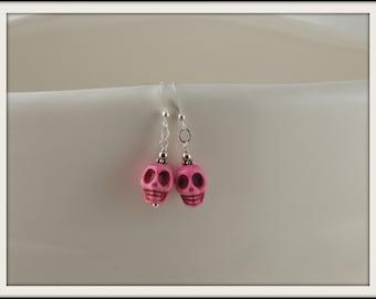 Dyed Howlite Fuschia Skull Earrings