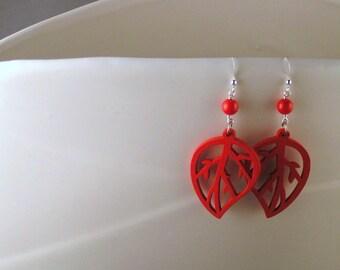 SALE - Wooden Leaf Earrings