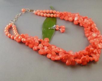 "Double-stranded Salmon Coral Teardrops - ""Salmon Cheria Set"""