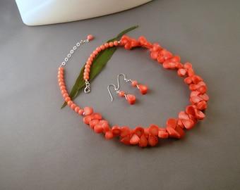 "Salmon Coral Teardrop Set - ""Salmon Cheria"""