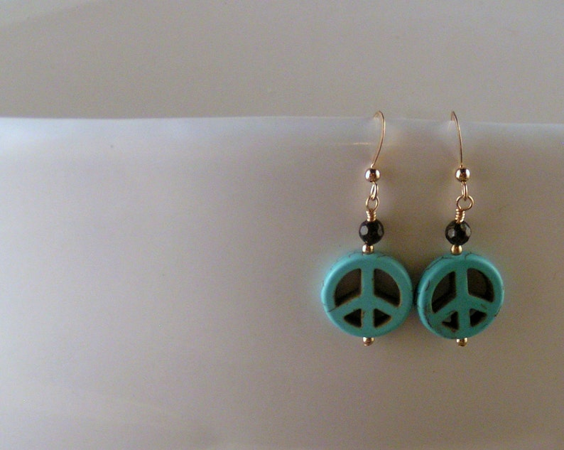 Synthetic Turquoise  A Little Peace Earrings image 0