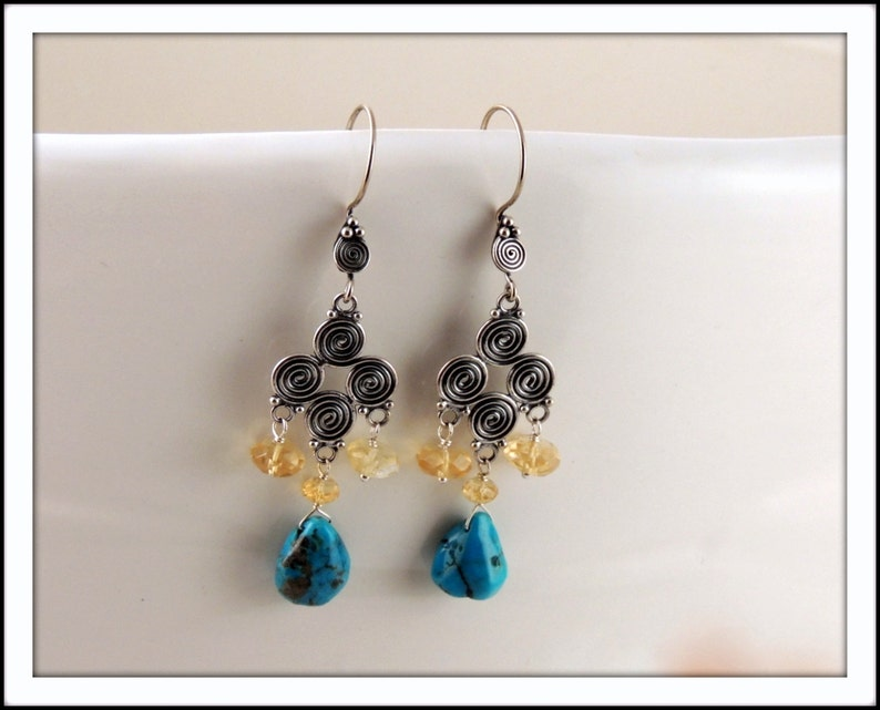 Turquoise and Faceted Citrine Chandelier Earrings image 0