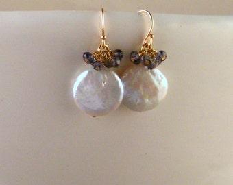 Keshi Pearl Earrings - Iolite