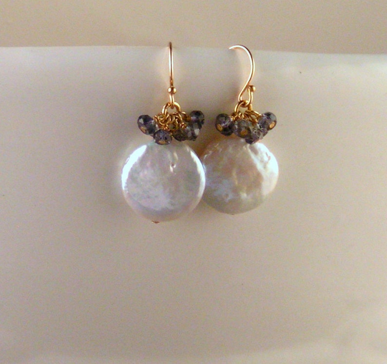 Keshi Pearl Earrings  Iolite image 0