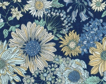 HALF YARD Lecien - Memoire a Paris Fall 2017 - Floral on NAVY 40738-77 - Cotton Lawn - Flowers - Japanese Import