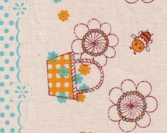 HALF YARD - Bees and Flower Baskets on Natural by Shinzi Katoh  - Polka Dot Border Print - Japanese Import