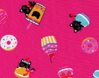 HALF YARD - Black Cat Sweets and Boba Party on Dark Pink 7030-1C -  Japanese Import Fabric