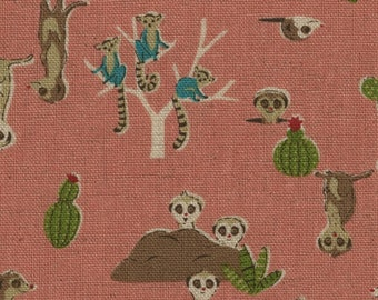 HALF YARD - Kokka - Rare Animals - Meerkats - Pink 21030 2B - Cotton Linen Blend - Japanese Import