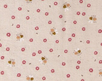 "End of Bolt - 25"" Cut - Kokka - Trefle Tiny Bumble Bees and Pink Flowers on Natural - 56000-2A - Cotton Oxford - Japanese Imported"
