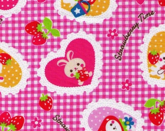HALF YARD - Strawberry Time Gingham - 7030 2C  Strawberry, Rabbit, Bunny, Flowers Hearts -  Japanese Import Fabric