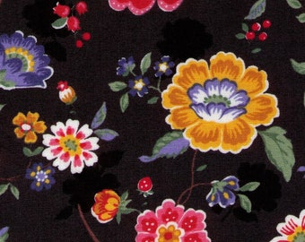 PRECUT - One Yard Precut - Yuwa - Retro Floral Bright on Black- 11-6569 E Atsuko Matsuyama - Flower, Bud, Bouquet, Wild Flower  Japanese