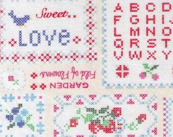 "End of Bolt - 10"" Cut - Yuwa - Sweet Cross Stitch White Multi - 82-6536 A Atsuko Matsuyama -Fruit, Floral, Cherry, Text, Love  Japanese"